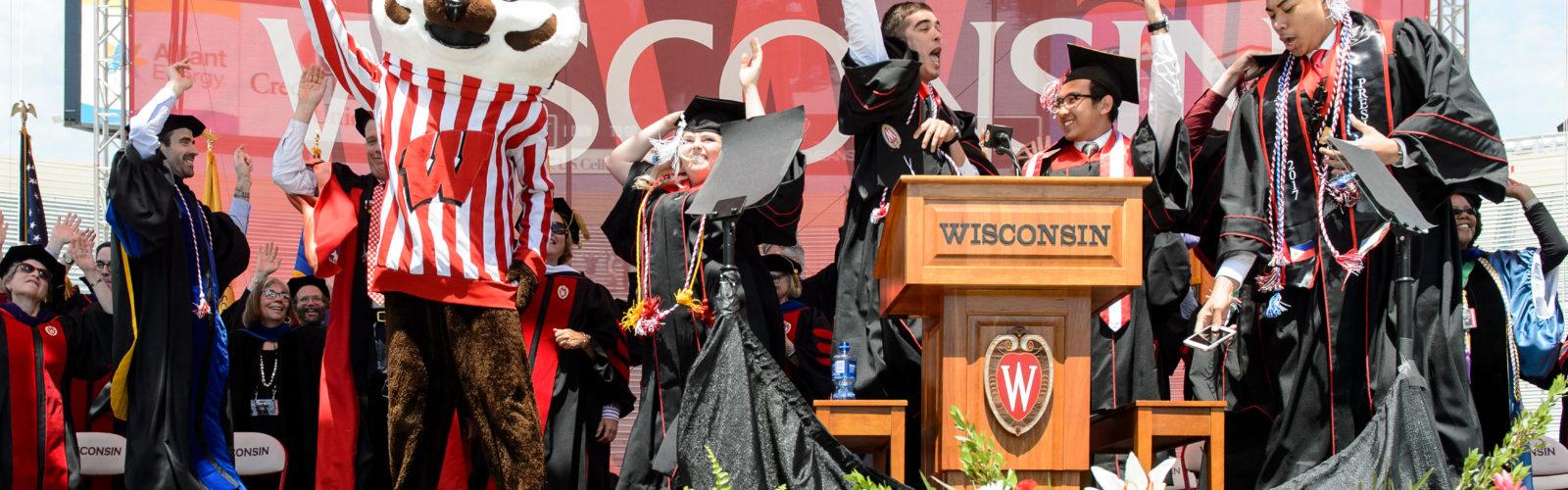 Students celebrating graduation.