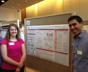 Joanna Swinarska and Alex Rokni present a poster at the Undergraduate Research Fair April 2014