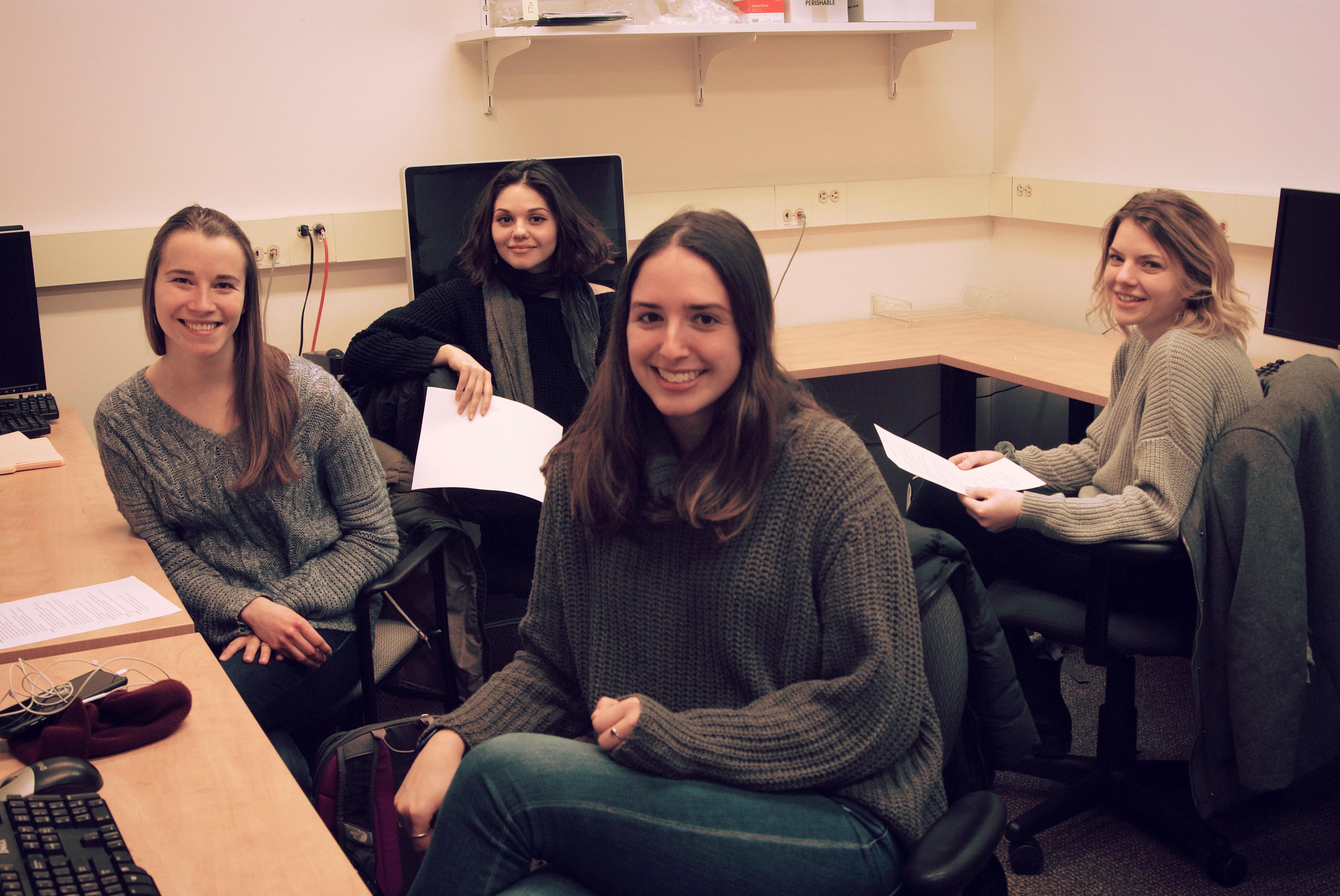 Photo of four undergraduate RA's.