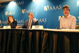 Photo of Dr. Feldman Barrett, Dr. Pollak, and Dr. Martinez at the 2020 AAAS Annual Meeting in Seattle